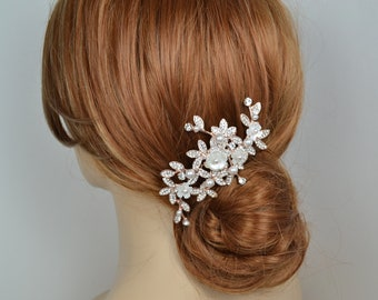 Rose Gold Bridal Hair Comb Swarovski Pearls Flowers Crystal Leaves Vine Branches Wedding Jewelry - Ships in 3-5 business Day