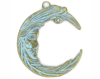3 Gold Crescent Moon Charm Pendant 38x32mm by TIJC SP1174