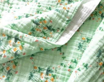 Organic Cotton Muslin Baby Wrap. Meadow Floral Double Gauze. Swaddle Cloth. Certified Organic. Thistle and Fox Fabric Prints. Ready to Ship
