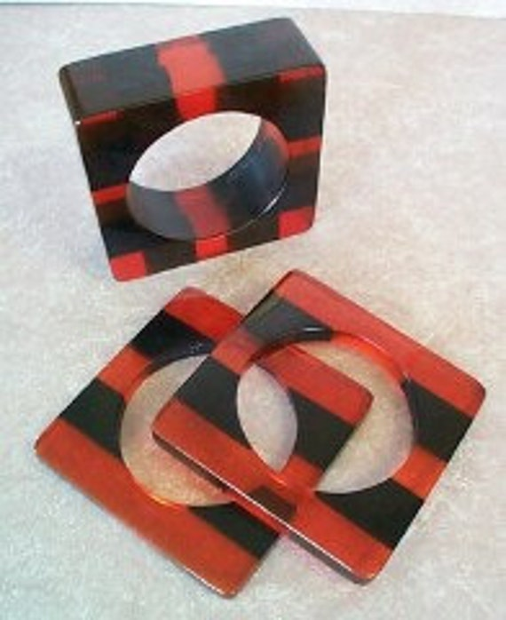 Bakelite Contemporary Artisan Made Big Honkin' Bracelet set, Cherry Prystal and Black