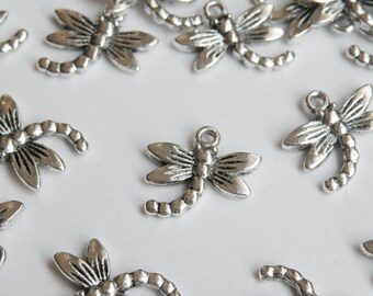 10 Dragonfly Charms antique silver 16x18mm PA20472