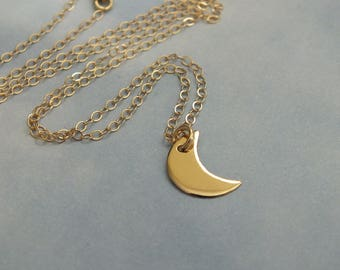 14k Solid Gold Crescent Moon Necklace, 11mm 14k Solid Yellow Gold Moon, 14k Gold Minimalist Gold Crescent Moon, I love you to the Moon 14k