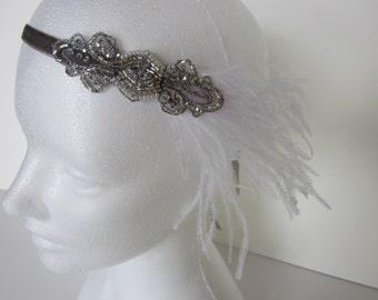 Beaded Flapper headband, Art Deco headband, black 1920s headband, daisy headpiece, daisy headband, Art Deco headdress, flapper accessories