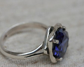 Tanzanite Ring, Tanzanite Rings, Tanzanite Silver Ring, Sterling Silver Tanzanite Engagement Ring, Silver Jewelry, Blue Stone Silver Rings,