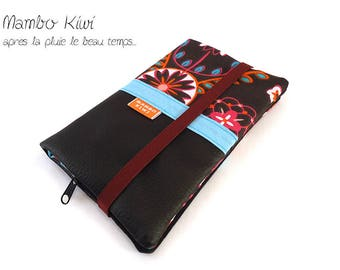 Large women's wallet, wallet leather wallet ethnic, elastic companion checkbook leather, fabric wallet, gift