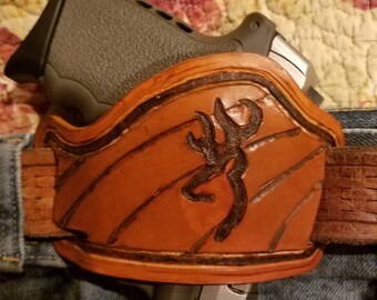 Custom Leather Conceal Carry Holster w deerhead