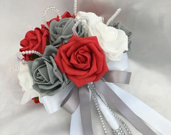 Artificial Wedding Flowers, Brides, Bridesmaids, Flower girls Posy Bouquet with Red, Grey and White Roses with crystal loops