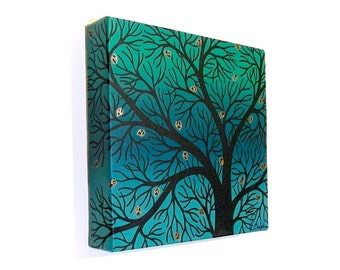 Spring Tree Silhouette acrylic painting - original artwork of abstract black branches against a green background, square canvas art