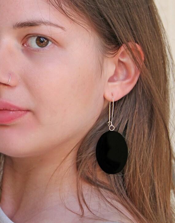 Onyx black earrings, statement earrings, black resin earrings, modern minimalist, long lightweight earrings, big oval earrings