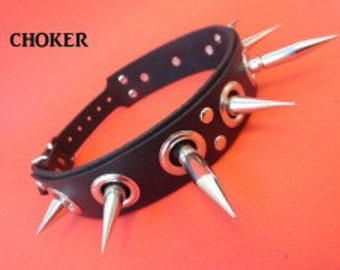 Leather Choker Collar Neck Accessories Rings & Spikes