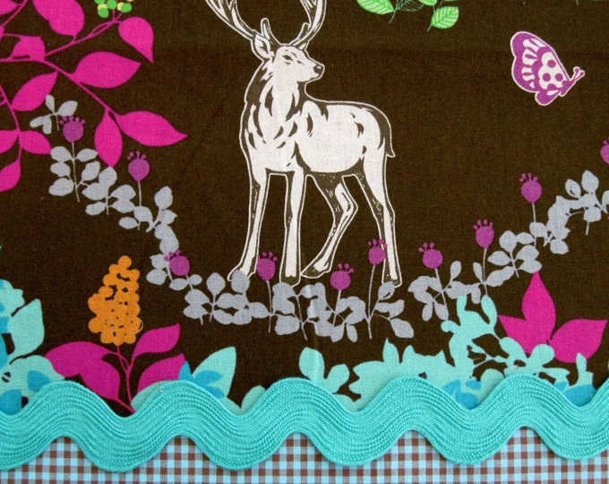 Echino WOODLAND, BROWN/Pink/TURQ Cotton Linen Japanese Fabric - Home Dec Weight