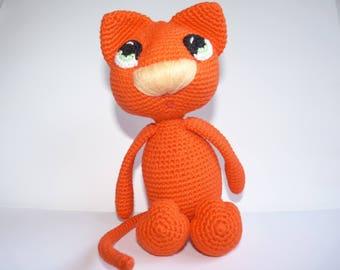 Cuddly plush amigurumi cat Leo cotton
