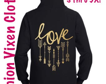 Love Arrows Zip Up Hoodie Sweatshirt Black S M L XL Plus Size 1x 2x 3x 4x 5x