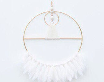 Available Now - Geometric Wall Hanging in White Fringe and natural wood