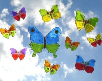 Colorful Butterflies Set of 10- Window Art suncatcher clings, decals