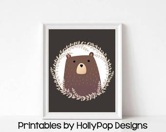 Printable bear art Bear nursery decor Printable woodland animal art Animal nursery decor Digital download Nursery printable Bear print #1837