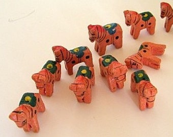 Wooden Animal Beads -  Ten (10) - Horses - Carved