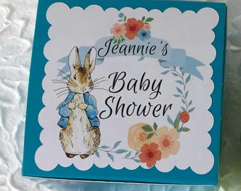 Peter Rabbit CUSTOM Party Favors Boxes | Birthday Baby Shower Boy Girl Birthday | Personalized Beatrix Potter | Book Themed Party | Set/12
