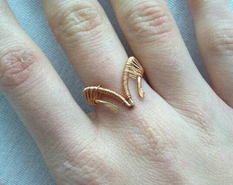 Bohemian wire adjustable ring, bohochic copper ring, gypsy style jewelry