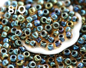 Seed beads, TOHO, size 8/0, Inside-Color Rainbow Lt Topaz Jet, N 244, japanese rocailles - 10g - S752