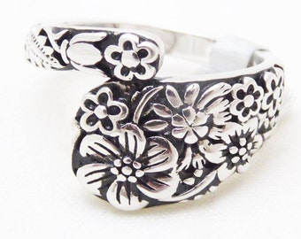 Spoon ring, wrap style, floral pattern, 925 silver, size 7