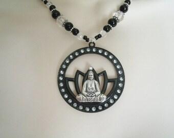 Buddha Lotus Necklace, buddhist jewelry buddhism jewelry boho jewelry meditation yoga zen bohemian hippie buddhist necklace boho necklace