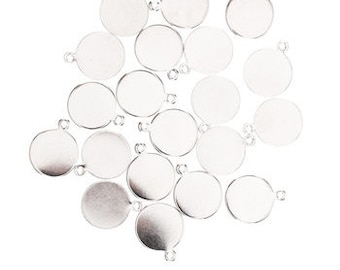 Stamping Blanks Silver Rhodium Tag Blanks Silver Blank Charms Metal Stamping Charms Tag Charms 12mm 20 pieces PREORDER