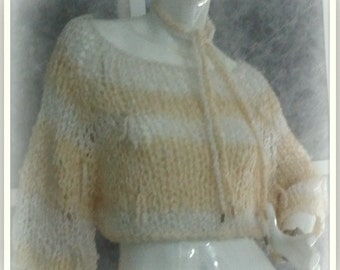 SWEATER WOMENS KNITTED Loose Baggy  Cropped Handmade BoHo  Grunge Short