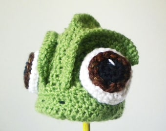 Crochet Pascal the Chameleon Hat - Cartoon Costume Hat - Tangled - Silly and Chunky Crochet Hat