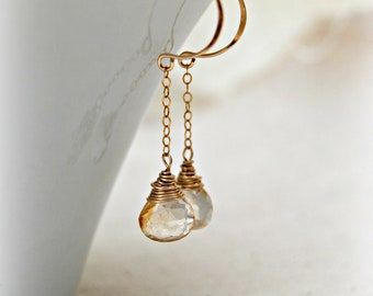 celebrate... gold citrine earrings / golden yellow citrine briolette & 14k gold filled chain earrings / november birthstone
