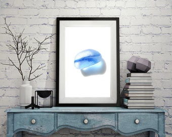 Art Print of Seaham SeaGlass - Gorgeous Blue Multi - PP1 - From Seaham England