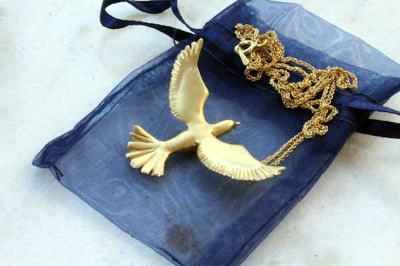 Bird jewelry gold dove necklace, peace jewelry, purity symbol, spread wings flying dove, 14k goldplated sterling silver mother's day jewelry