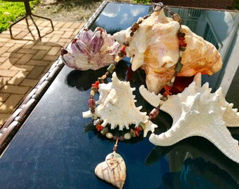 Jasper, African Opal and red Agate Neclace with Heart Pendant