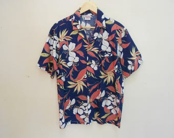barefoot in paradise hawaii shirt vintage barefoot in paradise land of aloha kamehameha kalakaua made in usa