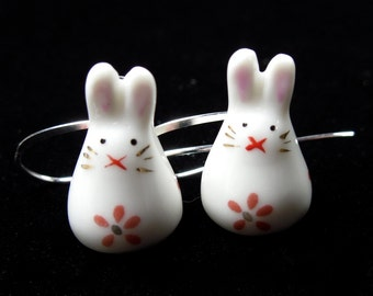 Sweet bunny rabbit earrings - painted ceramic bunny beads with red flowers on silver earwires - great gift -Free Shipping USA