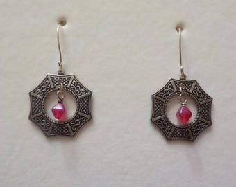 Antique Silver Patina Asian Window Pendant Drop Earrings