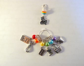 I Love Cooking Marker Set, Stitch Markers, Crochet Markers, Knitting Accessories, Beaded Markers, Baking Charms, Rainbow Markers
