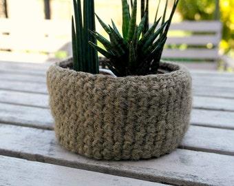 Jute Crocheted Bowl Plant Pot Holder, Crochet Storage Basket, Trinket Holder Primitive Natural Decor