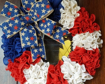 American Flag, Flag Wreath, Red White and Blue, Star, Burlap Flag Wreath, Fourth of July Wreath, Fourth of July, 4th of July, Patriotic