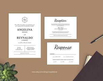 Hexagon Invitation | Monogram Wedding Invite | Printable Invitation Suite | Custom Invitation | Simple Invite | Geometric Invitation