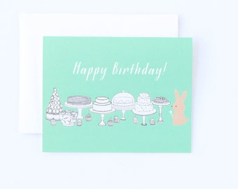 Birthday Card, Birthday Dessert Card, Dessert Card, Birthday Bunny, Birthday Bunny Card