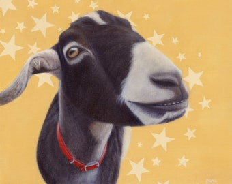Goat Art - Goat Print - Smiling Nubian Goat- Funny Goat Art - Proceeds Benefit Animal Charity