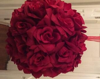 Red Roses Kissing Ball, Roses Pomander Ball, Red Wedding Pomander Ball, Red Holiday Kissing Ball, Red Roses Pomander Ball