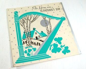 Vintage St. Patrick's Day Greeting Card, Old Holiday Card, Horseshoe, Irish Shamrock, Mid Century Paper Ephemera    (614-13)
