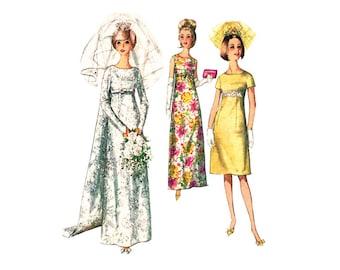 Vintage Wedding Dress Pattern Simplicity 6352 Empire Dress Bridesmaid  or Evening Dress Size 11 Junior Sewing Pattern