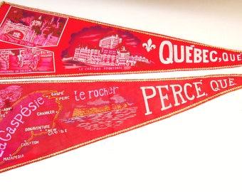 2 Vintage Pennants Quebec Canada with Braid Border Travel Souvenir