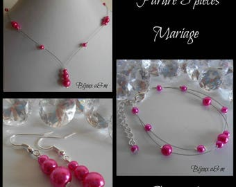 Set of 3 wedding pieces cascade of fuchsia beads