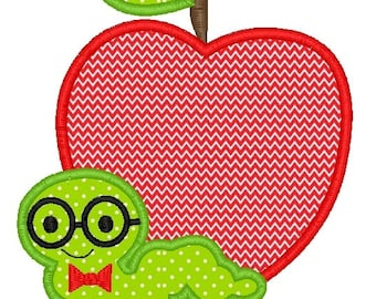 Apple Book Worm Machine Embroidery Applique Design