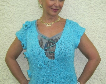 Mother's day BOHO chic SEA shade laced shirt w/beaded/flowers hand knitted vest, top, womens waistcoat, Sweater funky turquoisetop!