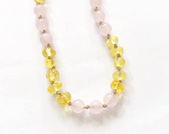 Honey Baltic Amber Teething Necklace with Rose Quartz